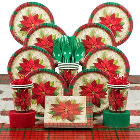 Plaid Poinsettia Deluxe Tableware Kit Serves 8