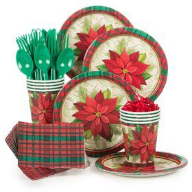 Plaid Poinsettia Standard Christmas Tableware Kit Serves 8