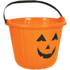 Plastic Orange Pumpkin Bucket (Each)