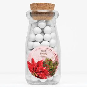 "Poinsettia Holiday Personalized 4"" Glass Milk Jars (Set of 12)"