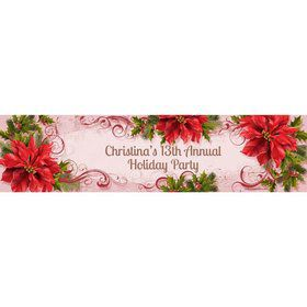 Poinsettia Holiday Personalized Banner (Each)