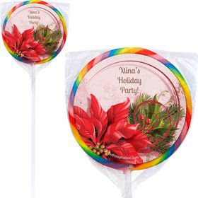 Poinsettia Holiday Personalized Lollipops (12 Pack)