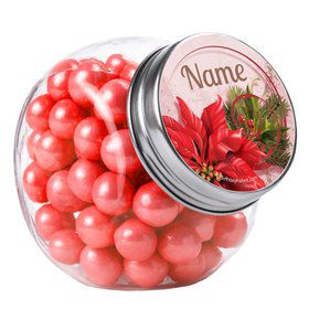 Poinsettia Holiday Personalized Plain Glass Jars (12 Count)