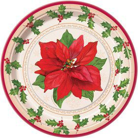 Poinsettia Joy Cake Plates (8 Pack)