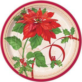 Poinsettia Joy Luncheon Plates (8 Pack)