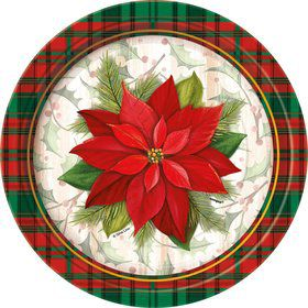 "Poinsettia Plaid 7"" Plate (8 Count)"