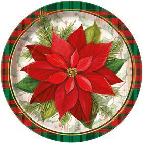 "Poinsettia Plaid 9"" Plate (8 Count)"
