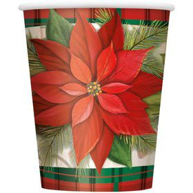 Poinsettia Plaid 9OZ Cup (8 Count)