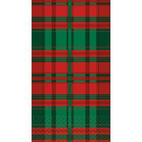 Poinsettia Plaid Guest Napkins (16 Count)