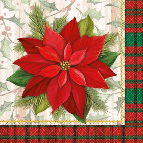 Poinsettia Plaid Lunch Napkin (16 Count)