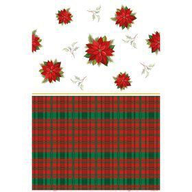 Poinsettia Plaid Table Cover