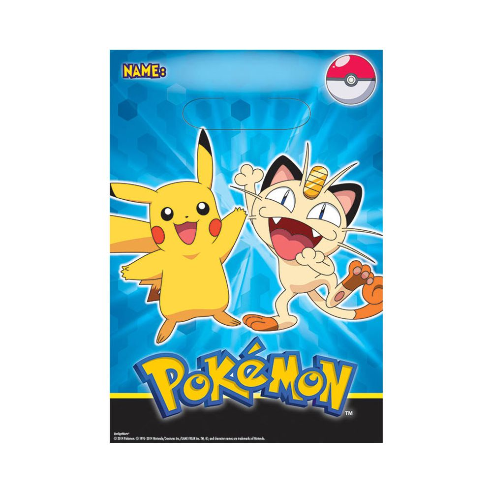 Pokemon Favor Loot Bags (8 Pack) - Party Supplies