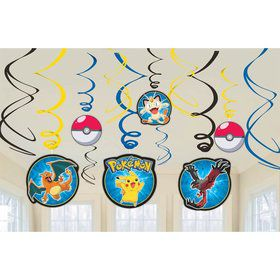 Pokemon Hanging Foil Swirl Decorations (12 Pack)