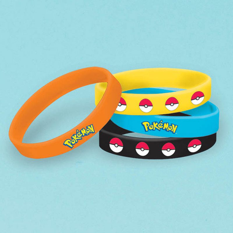 Pokemon Rubber Bracelet Favors (4 Pack) - Party Supplies BB394436