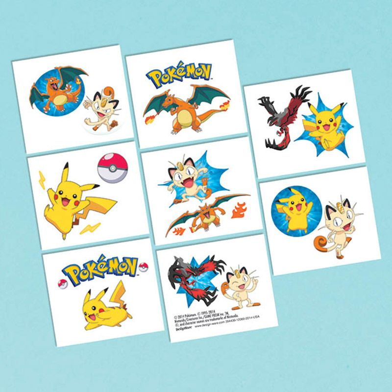Pokemon Tattoo Favors (16 Pack) - Party Supplies BB394439