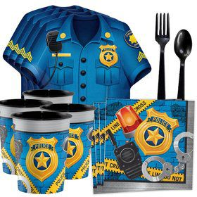 Police Party Tableware Kit With Favor Cups (Serves 8)