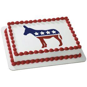 Political Donkey Quarter Sheet Edible Cake Topper (Each)