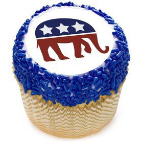 "Political Elephant 2"" Edible Cupcake Topper (12 Images)"
