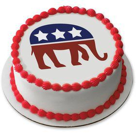 "Political Elephant 7.5"" Round Edible Cake Topper (Each)"