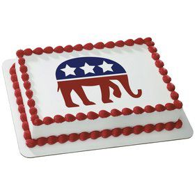 Political Elephant Quarter Sheet Edible Cake Topper (Each)
