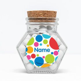 """Polka Dot Party Personalized 3"""" Glass Hexagon Jars (Set of 12)"""