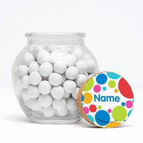 "Polka Dot Party Personalized 3"" Glass Sphere Jars (Set of 12)"