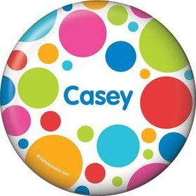 Polka Dot Party Personalized Button (each)