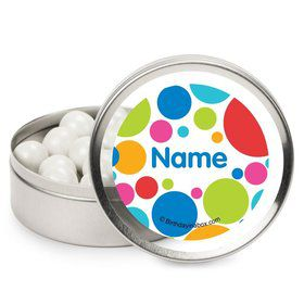 Polka Dot Party Personalized Candy Tins (12 Pack)