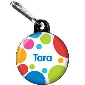 Polka Dot Party Personalized Mini Zipper Pull (each)