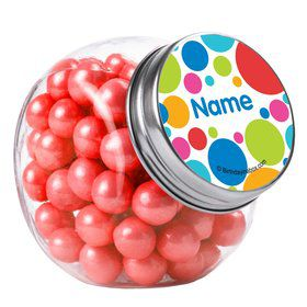 Polka Dot Party Personalized Plain Glass Jars (10 Count)
