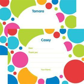 Polka Dot Party Personalized Thank You Note (each)