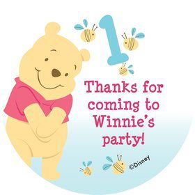 Pooh Personalized Stickers (Sheet Of 12)