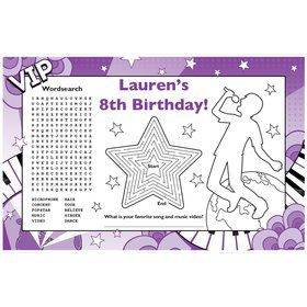 Pop Star Personalized Activity Mat (8 pack)