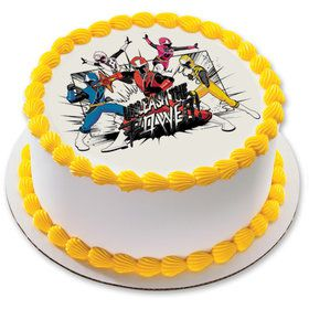 "Power Rangers Ninja Steel 7.5"" Round Edible Cake Topper (Each)"