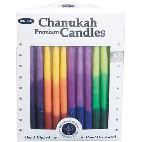 Premium Rainbow Tri-Color Hanukkah Candles (45 Candles)