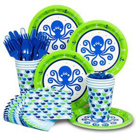 Preppy Blue Ocean Birthday Party Standard Tableware Kit Serves 8