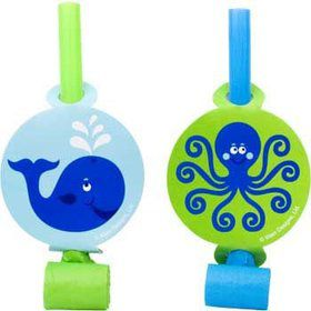 Preppy Blue Ocean Party Blowers (8-pack)
