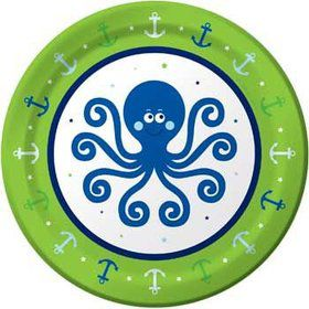 Preppy Blue Ocean Party Cake Plate (8-pack)
