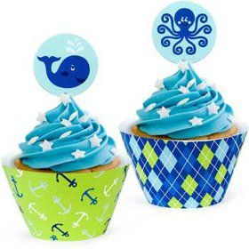 Preppy Blue Ocean Party Cupcake Wrappers With Picks (12-pack)