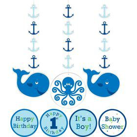 Preppy Blue Ocean Party Dangling Cutout (3-pack)