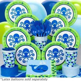 Preppy Blue Ocean Party Deluxe Tableware Kit Serves 8