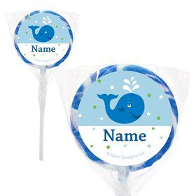 "Preppy Blue Ocean Party Personalized 2"" Lollipops (20 Pack)"