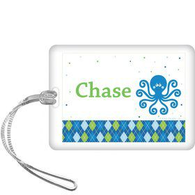 Preppy Blue Ocean Party Personalized Bag Tag (each)