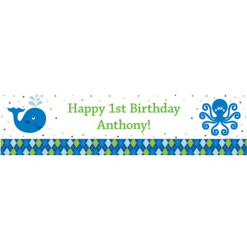 Preppy Blue Ocean Party Supplies Personalized Ban (each) BB020235