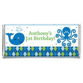 Preppy Blue Ocean Party Personalized Candy Bar Wrapper (Each)
