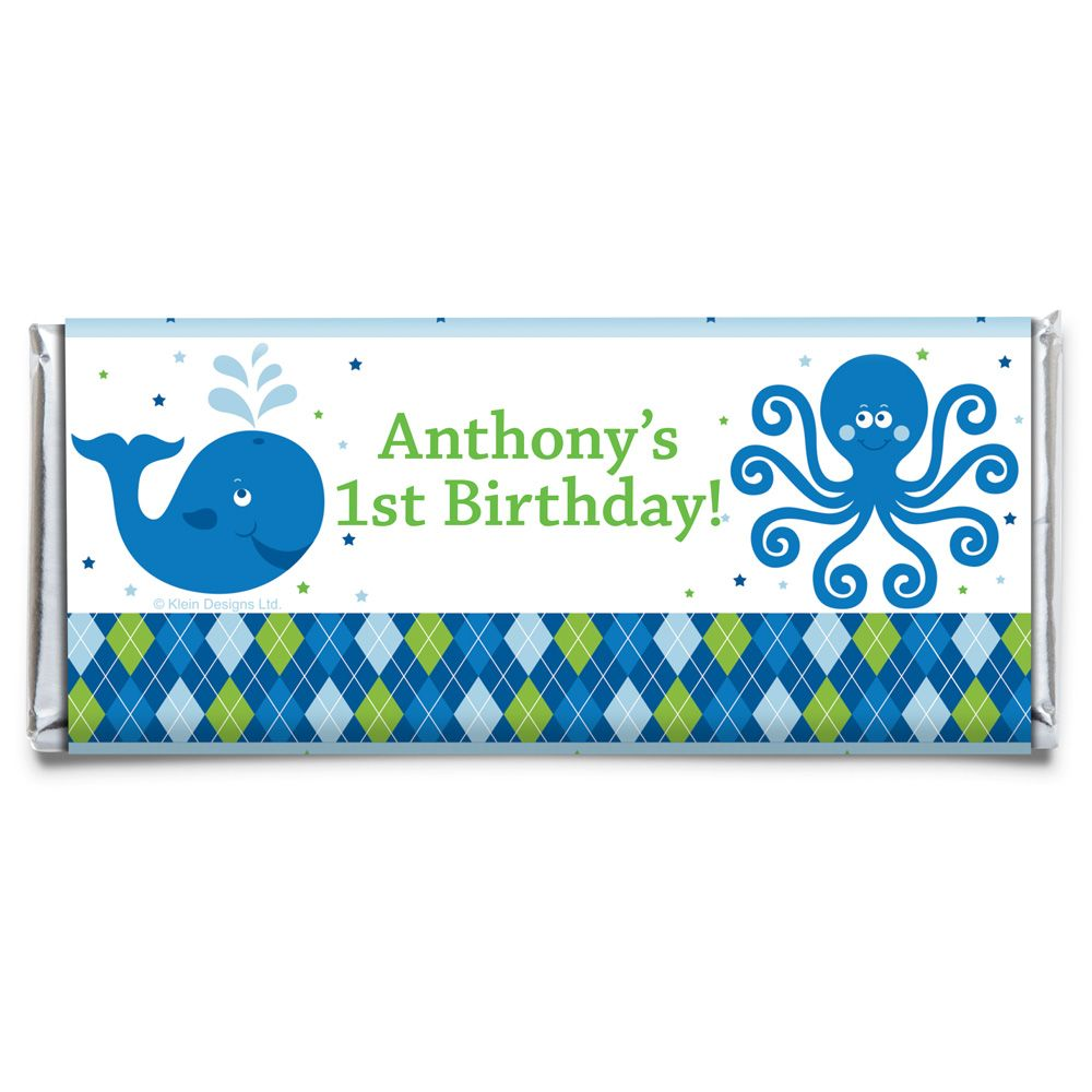 Preppy Blue Ocean Party Personalized Candy Bar Wrapper (Each) BB020245CB