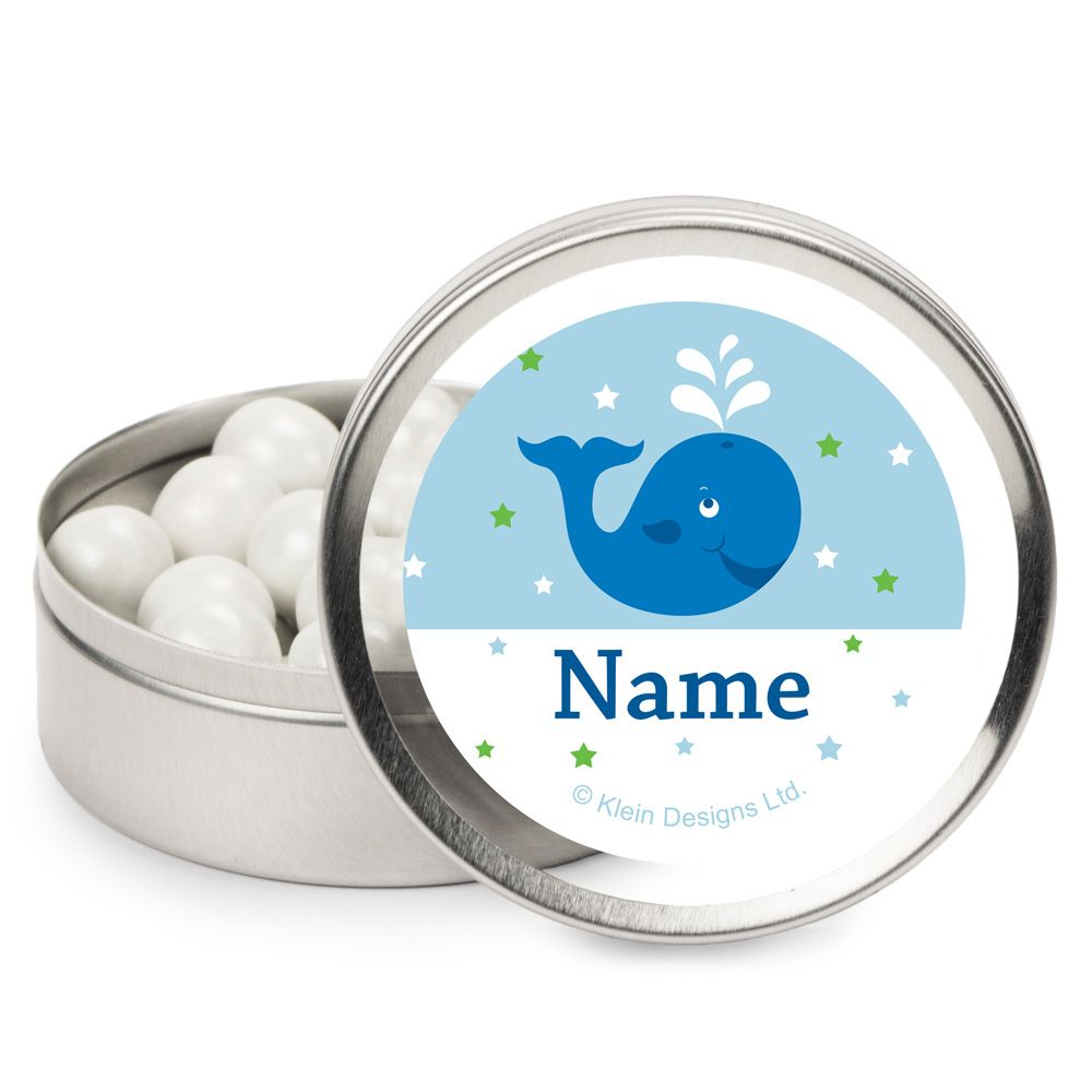 Preppy Blue Ocean Party Supplies Personalized Candy Tins (12 Pack) BB020245MT