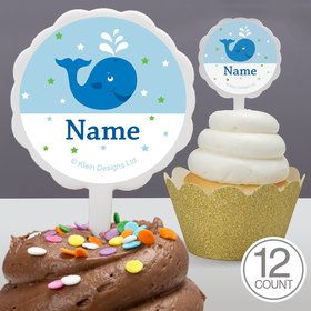 Preppy Blue Ocean Party Personalized Cupcake Picks (12 Count)