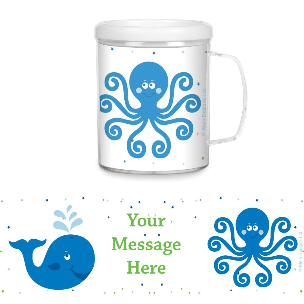 Preppy Blue Ocean Party Supplies Personalized Favor Mugs (Each) BB020245CUP