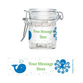 Preppy Blue Ocean Party Personalized Glass Apothecary Jars (12 Count)